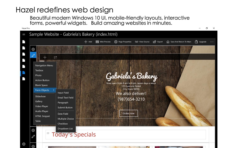 Hazel - Responsive website designer for Windows 10